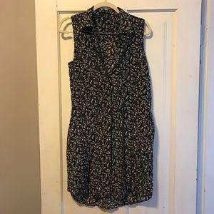 Theory silk slvls buttondown dress/tunic w/pockets